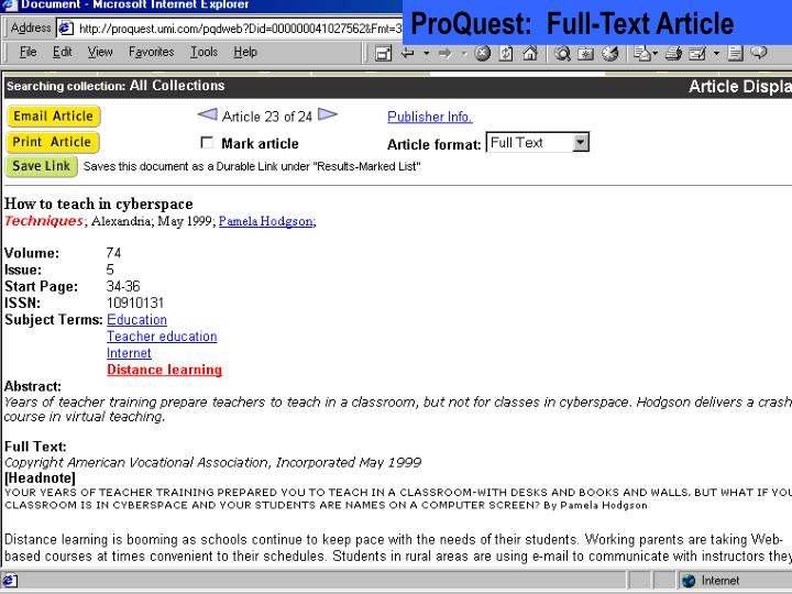 ProQuest:  Full-Text Article