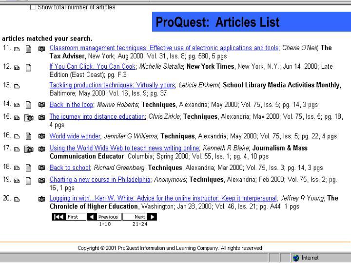 ProQuest:  Articles List