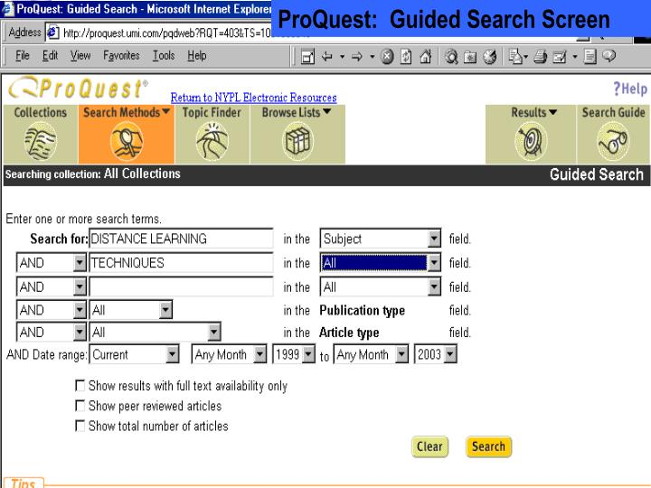 ProQuest:  Guided Search Screen