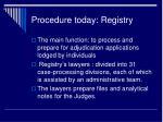procedure today registry