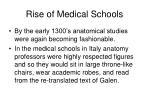 rise of medical schools