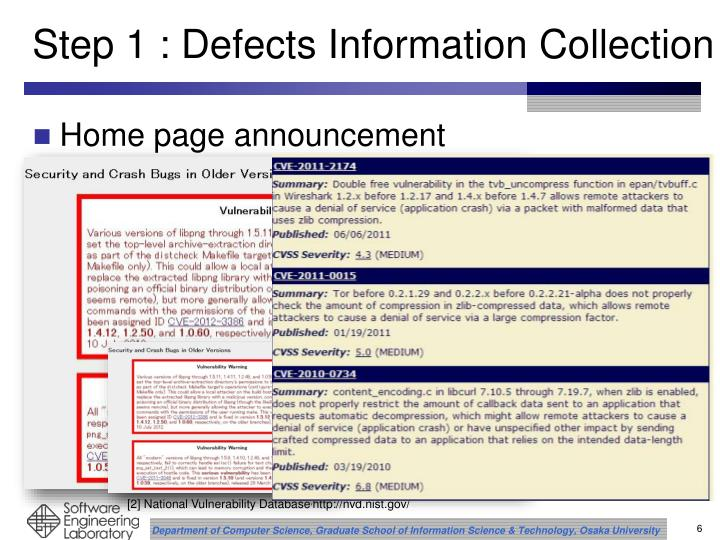 Step 1 : Defects Information Collection