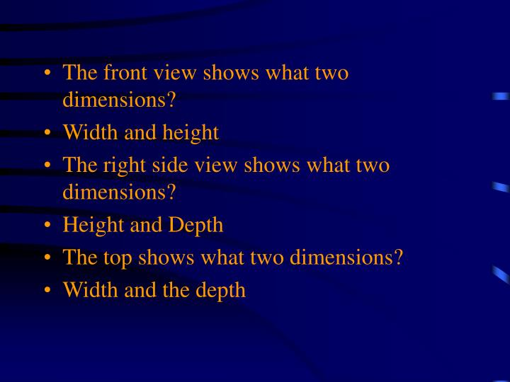 The front view shows what two dimensions?