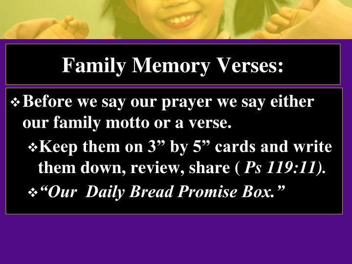 Family Memory Verses: