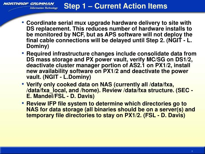 Step 1 – Current Action Items