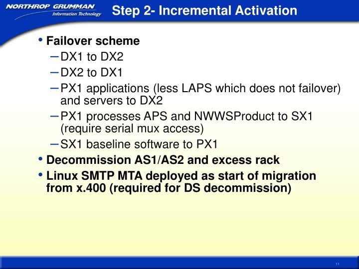 Step 2- Incremental Activation