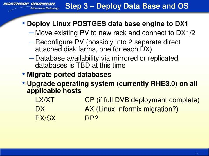 Step 3 – Deploy Data Base and OS