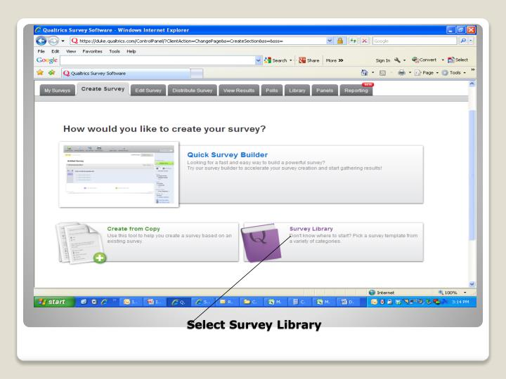Select Survey Library