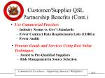 customer supplier qsl partnership benefits cont