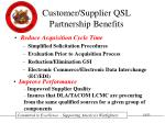 customer supplier qsl partnership benefits