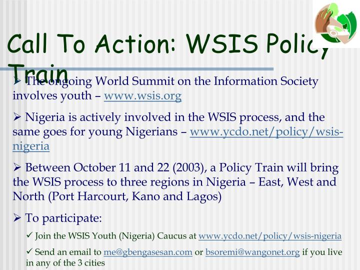 Call To Action: WSIS Policy Train