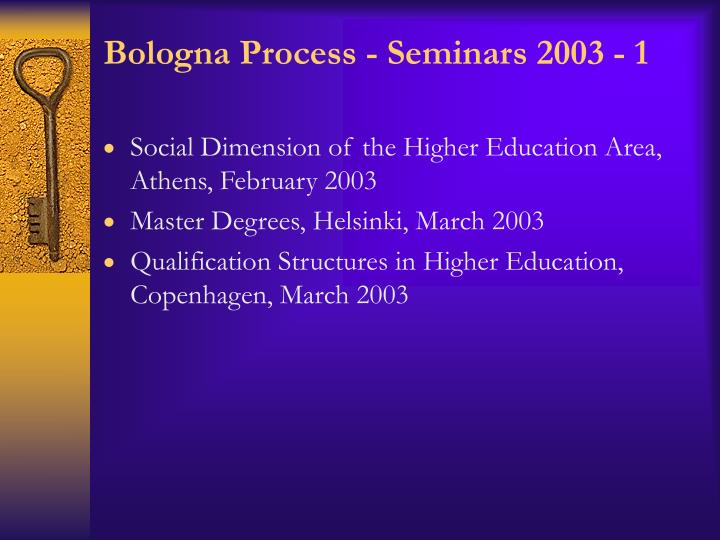 Bologna Process - Seminars 2003 - 1
