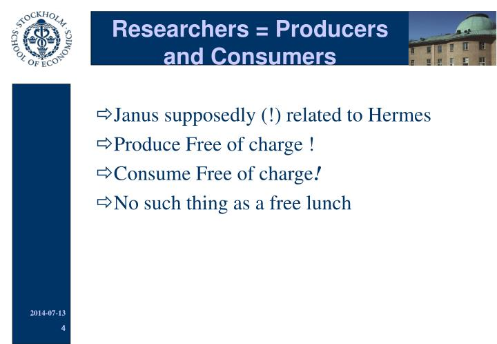 Researchers = Producers and Consumers