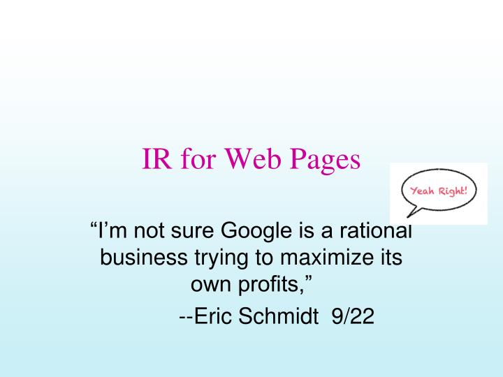 ir for web pages n.