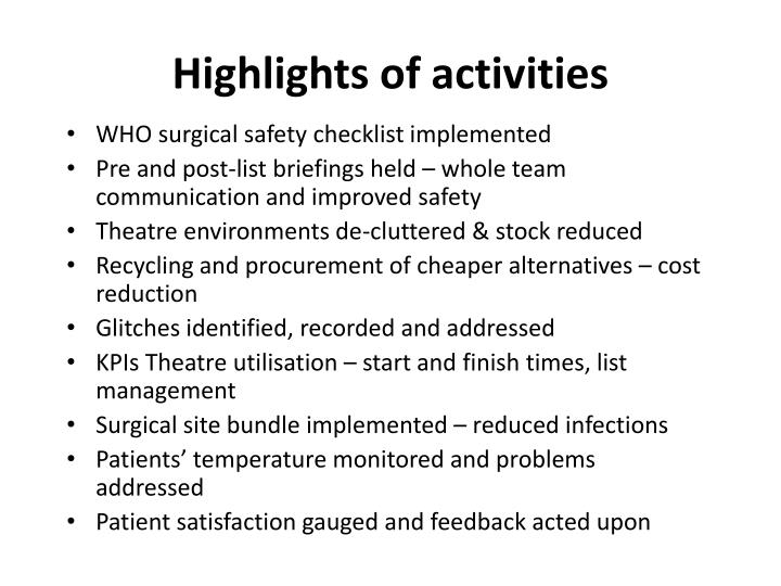 Highlights of activities