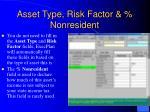 asset type risk factor nonresident