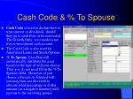cash code to spouse