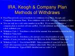 ira keogh company plan methods of withdraws