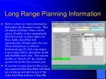 long range planning information