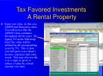 tax favored investments a rental property