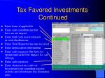 tax favored investments continued