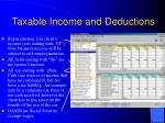 taxable income and deductions