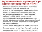 key recommendations expanding oil gas supply and strategic petroleum reserves