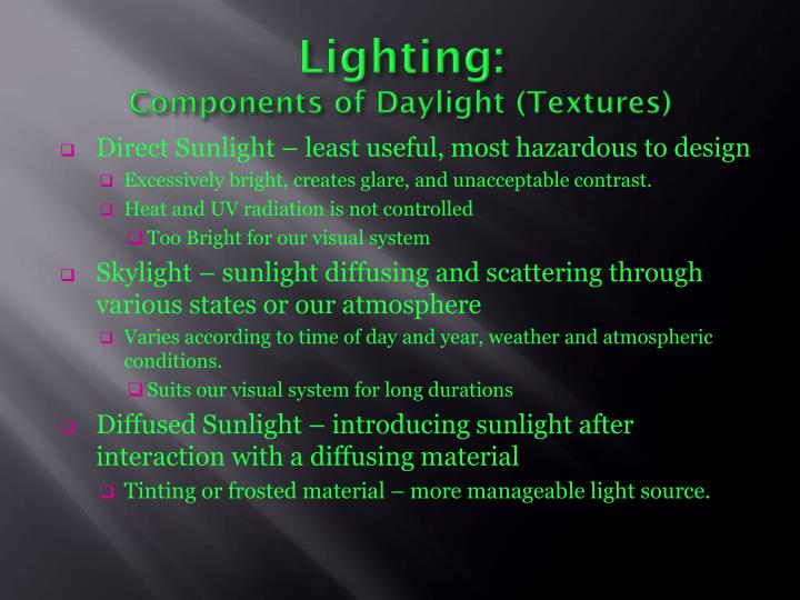 Lighting components of daylight textures