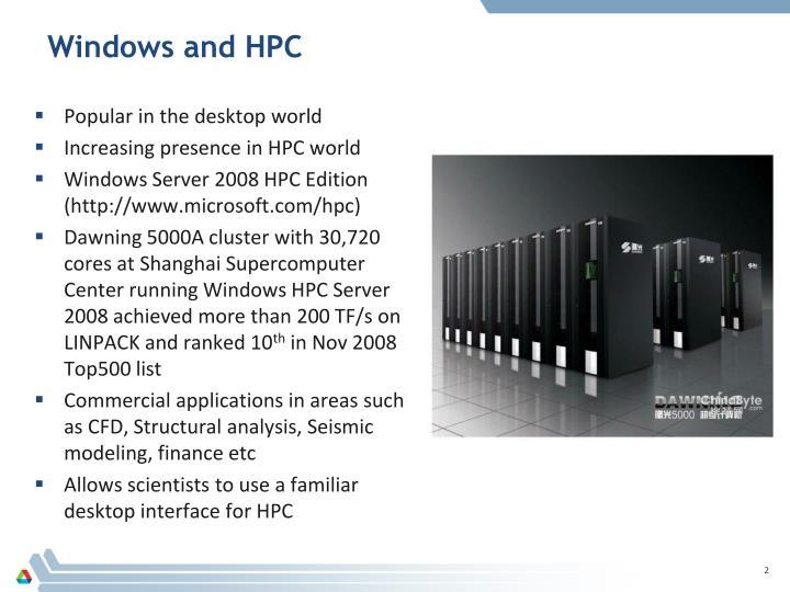 Windows and hpc