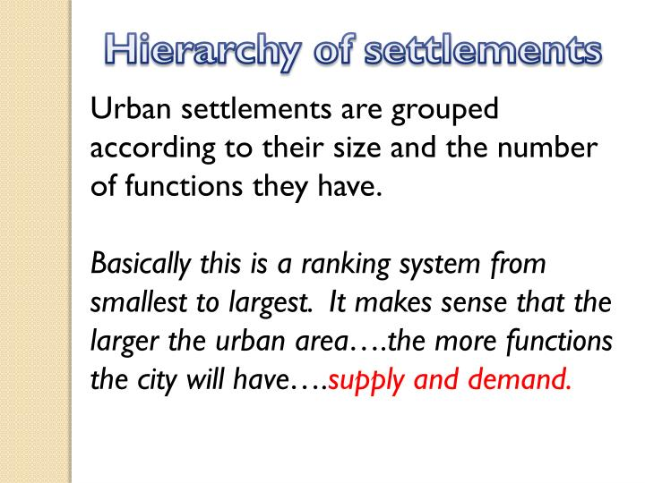 Hierarchy of settlements