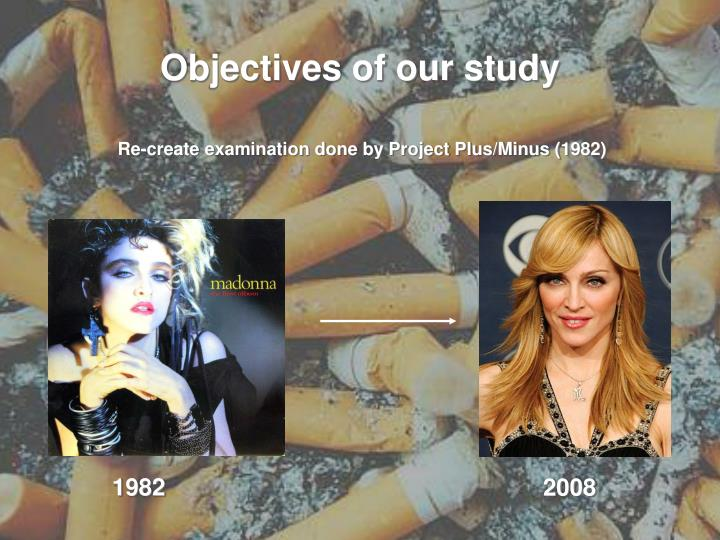 Objectives of our study