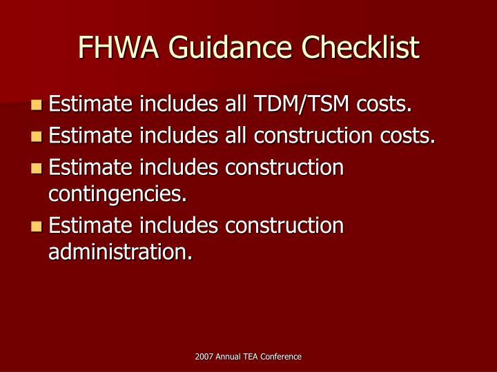 FHWA Guidance Checklist