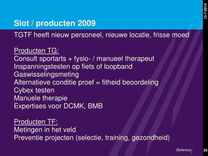 Slot / producten 2009