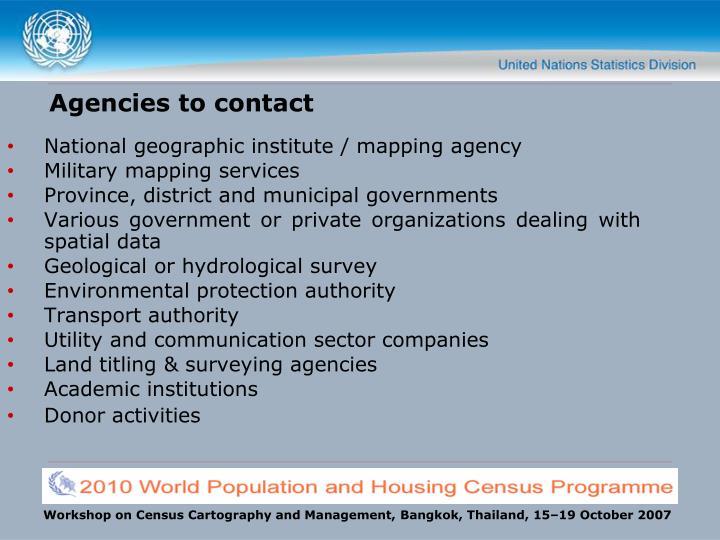 Agencies to contact