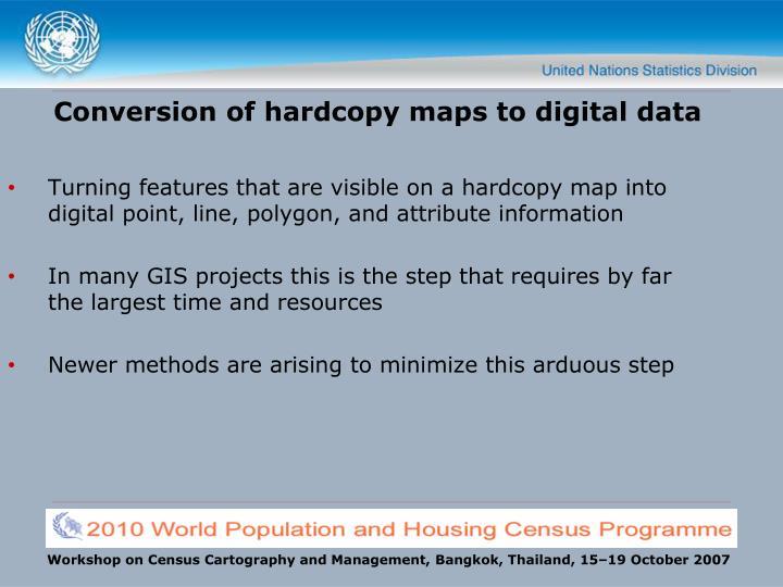 Conversion of hardcopy maps to digital data