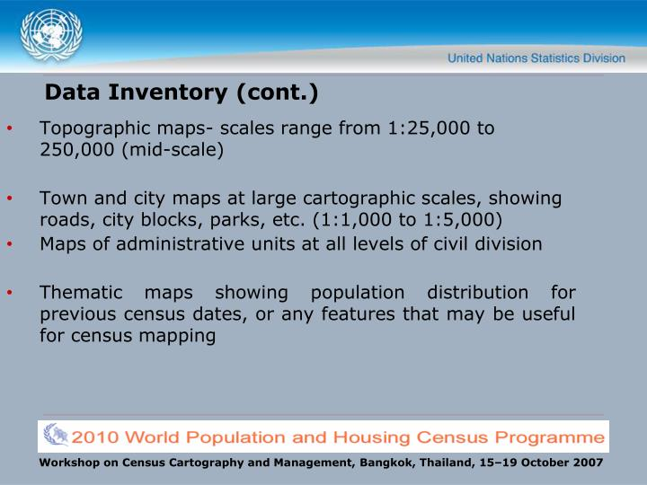 Data Inventory (cont.)
