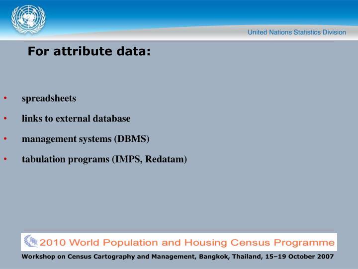 For attribute data: