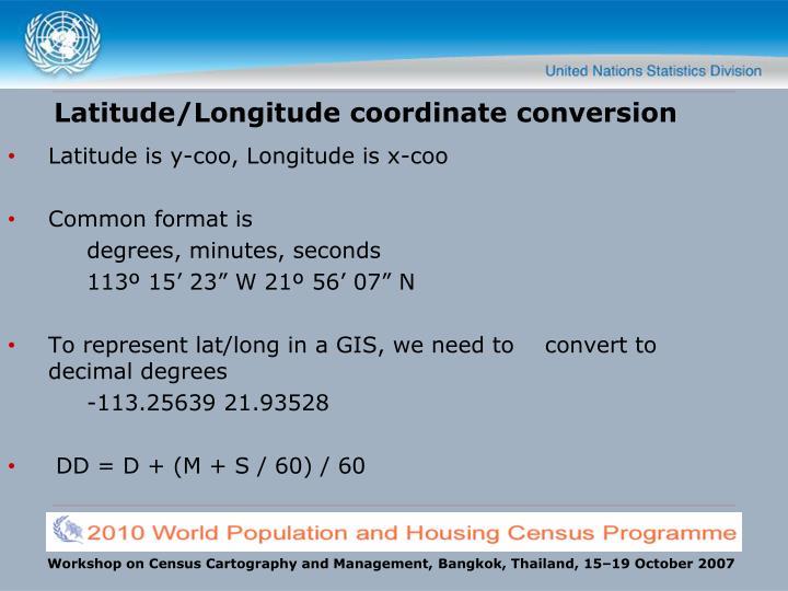 Latitude/Longitude coordinate conversion
