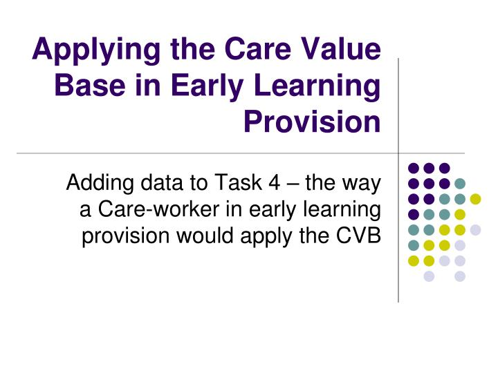 applying the care value base in early learning provision n.