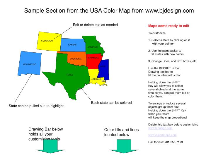 PPT - Sample Section from the USA Color Map from www.bjdesign.com ...