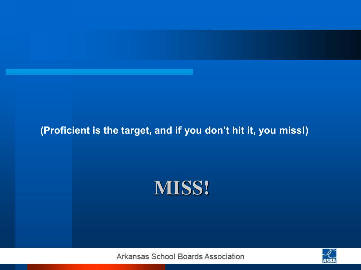 (Proficient is the target, and if you don't hit it, you miss!)
