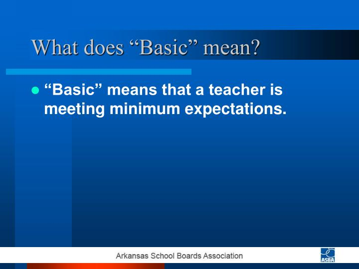 "What does ""Basic"" mean?"