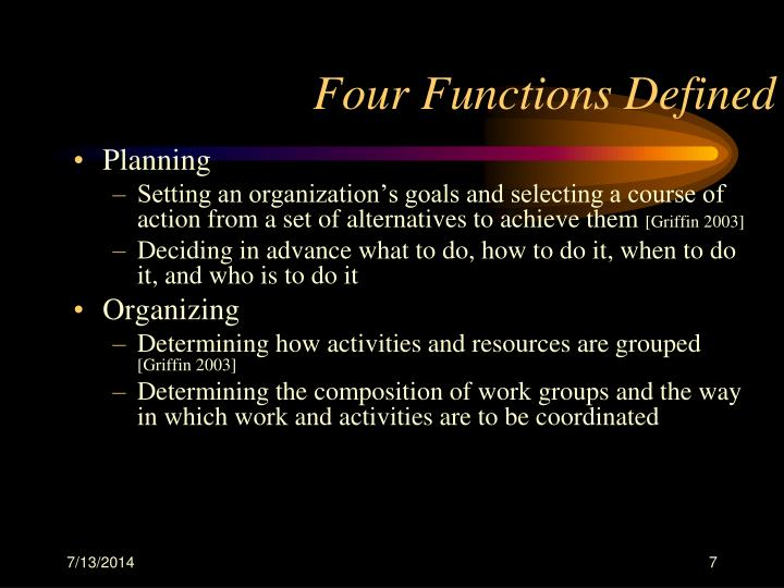 Four Functions Defined