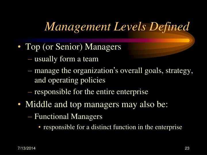 Management Levels Defined