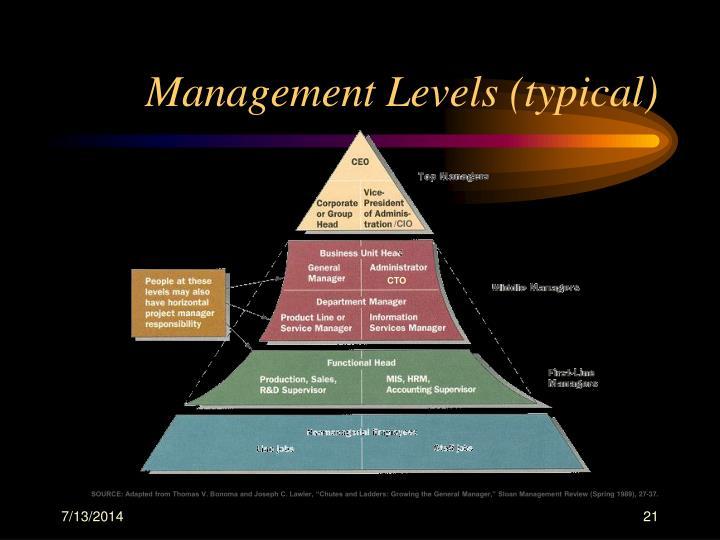 Management Levels (typical)