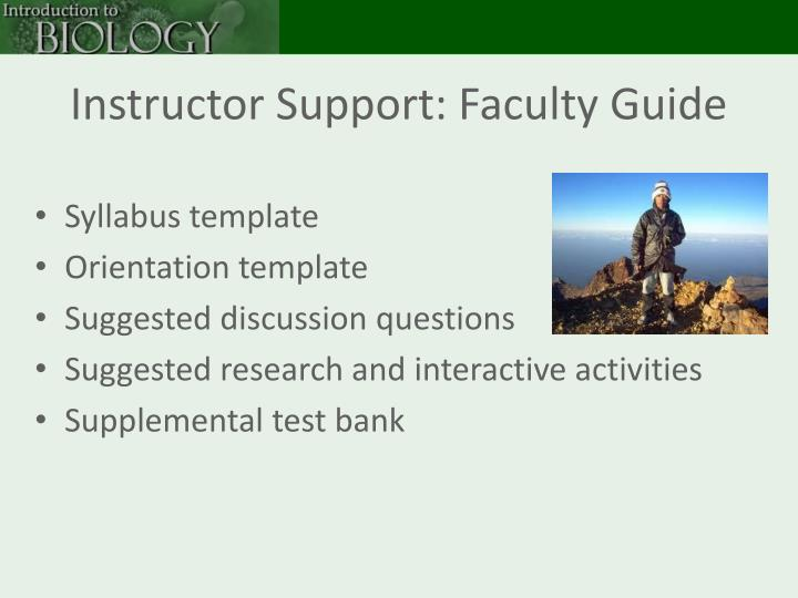 Instructor Support: Faculty Guide