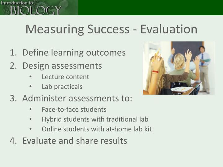 Measuring Success - Evaluation