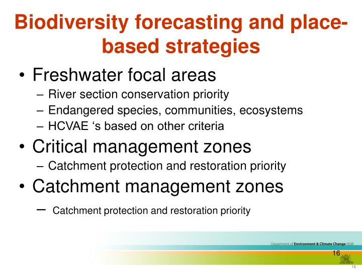 Biodiversity forecasting and place-based strategies