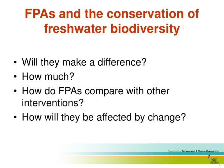 Fpas and the conservation of freshwater biodiversity