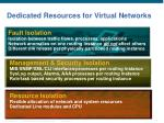 dedicated resources for virtual networks